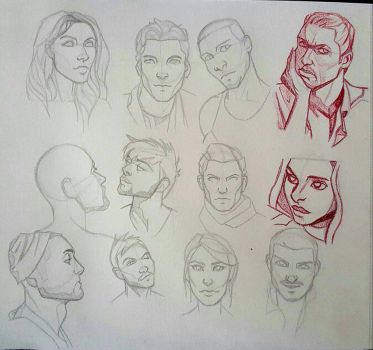 faces sketches by hel78