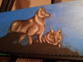 The Wolfs (in progress) painting on Hand Saw by PenclGuy