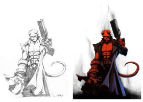NeMAfronSPAiN's Hellboy color by CleverBlue