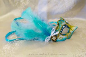 mini blue and gold mask by ButterflyInDisguise