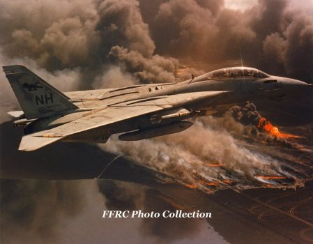 F-14A from VF-114 flying over fierce oil well fire by fighterman35