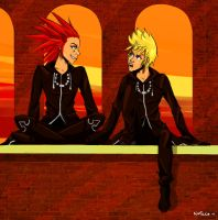 Roxas and Axel ~ Our last sunset by NoFaceDoodles