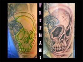 Freehand skull back drop by Klyde-Chroma