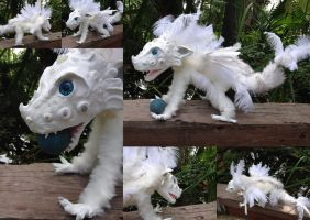 Anestai  Poseable White Feathered Dragon  SOLD by SonsationalCreations