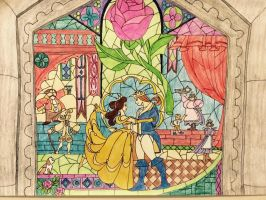 Princess Belle and Prince Adam Stain Glass Drawing by julietcapulet432