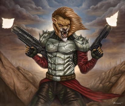 Bounty Hunter Lion in post apocalyptic world by RoyalFiend