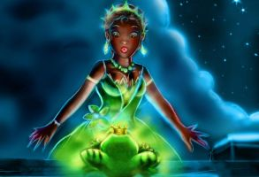 princess tiana and the frog by Kevsoraone