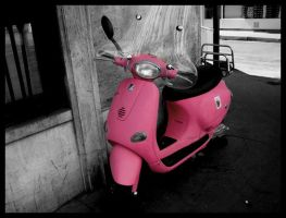 Parisian Pink Scooter by chocolate-music