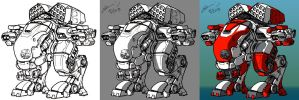 A late night coloring of a bipod Mech just for fun by elvissalaris