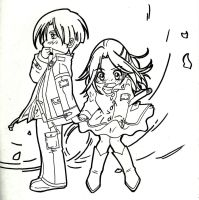 Leon and Claire BSAA: Chibi Paseo B/W by LeonandClaireBSAA