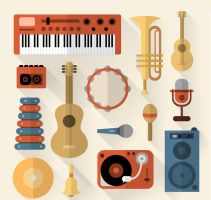 14 Flat Music Equipment Vector by FreeIconsdownload