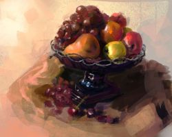 Fruits Tray digi paint study by BlackDelphin