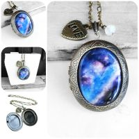 Handmade Resin Galaxy Bronze Oval Locket Necklace by crystaland