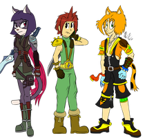Cloud, Sesame, and Cheetah Kid's FF Costumes by CHAOKOCartoons