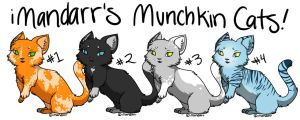 Munchkin Cat Adoptables :: Open 50pts each by SparkFoxes