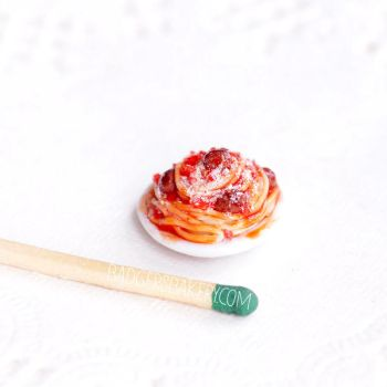 Dollhouse Spaghetti Bolognese with Meatballs by BadgersBakery