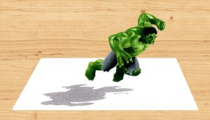 3-D Colored Pencil Drawing: Hulk by JasminaSusak