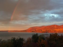Hudson Highlands Sunset with Rainbow! by TheMightyQuinn