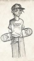 Skate-kid Sketch by silverbane