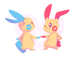 Minun and Plusle by Hollulu