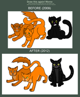 Warriors Descended Before and After by rainbowpanda101