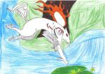 Amaterasu jump for lily pad by Shakko1993