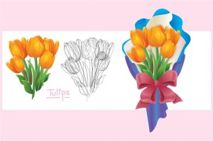 vector flower - tulips by boomYee