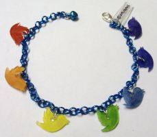 Kawaii Twitter personalised Rainbow charm bracelet by Lovelyruthie