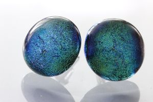 Dichroic Round Turquoise Stud Earrings by Dimolicious
