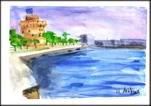 Aquarelle The white tower of Thessaloniki by Dairanhill