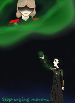 Loki checking on brother by RainbowsOfDarkness