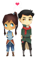 Makorra- Chibi by Immature-Child02