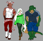 Minty Trio - Flat colors WIP by the-peppermint-kid