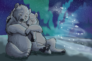 Polarbear Snuggles by Whitefeathur