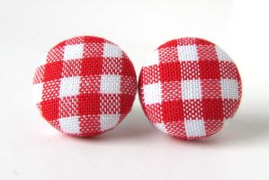 Red checks stud earrings by KooKooCraft