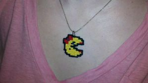 Ms Pacman Stitched Necklace by starrley
