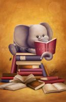 Elephant reading by Akany89
