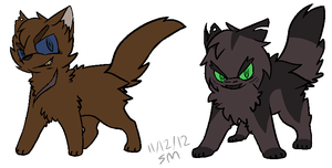 2P!Firestar and 2P!Greystripe -Warriors- by PikaPlatinum
