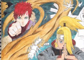 Gaara VS Deidara (final version) by TurquioseFantasia
