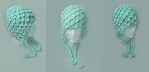 Mint Crochet Crocodile Stitch Hat by Kinky-Slingy