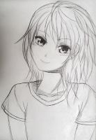 Anime Girl (Line Drawing) by 9Mumei19