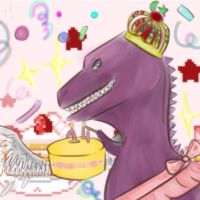Dinos with cake by LahmeQueen
