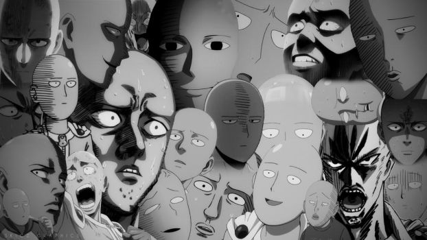One Punch Man - Saitama Faces Wallpaper BW by SKIGZdoesART
