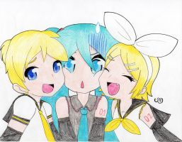 Miku Rin and Len by SwimFree
