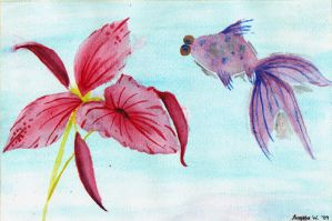 Fish and Flower by Anjellyjoy