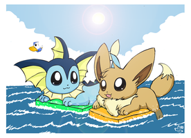 Vaporeon and Eevee by pichu90