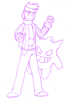 Morty and Gengar Sketch by buizelmaniac