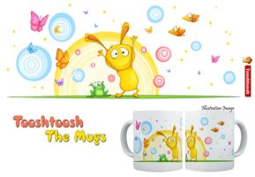 Happy Bunny and Frog Mug by Tooshtoosh
