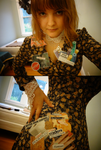 Laminated Collage Brooches (Being worn!) by Feyoka