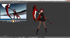 RWBY_3d-Fanart_Project R_StanceTest by jugapugz